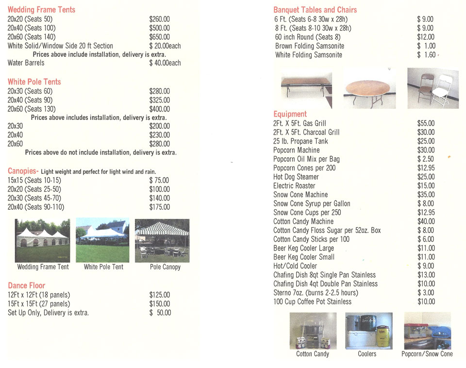 Table Rentals Tent Rentals Party Equipment Rental Cary IL